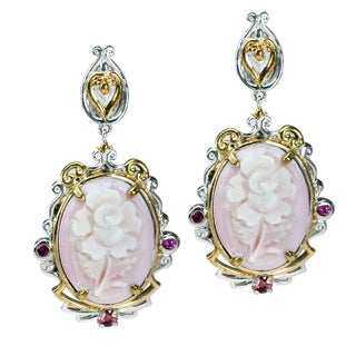 One-of-a-kind Michael Valitutti Pink Carved Floral Shell Earrings with Pink Sapphire