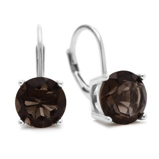 3 1/2 Carat Smoky Quartz Leverback Earrings In Sterling Silver