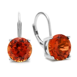 5 1/2 Carat Created Padparadscha Sapphire Leverback Earrings In Sterling Silver