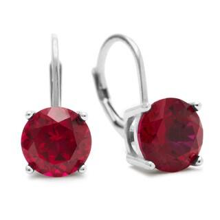 5 1/2 Carat Created Ruby Leverback Earrings In Sterling Silver