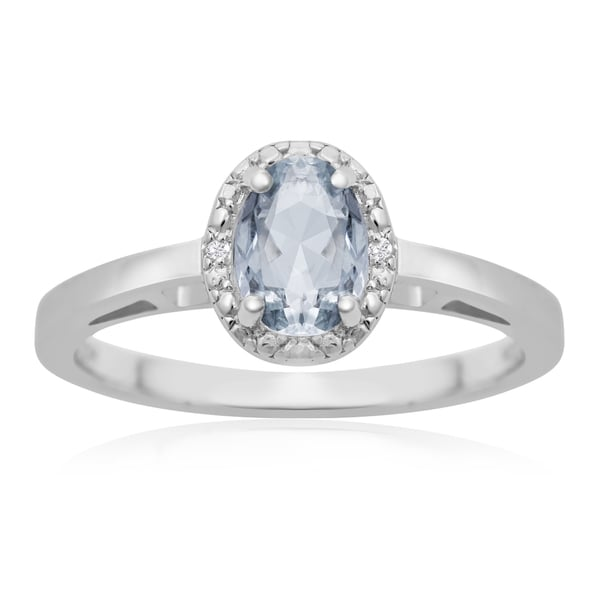 0.60ct Oval Shape Aquamarine and Halo Diamond Ring In Sterling Silver