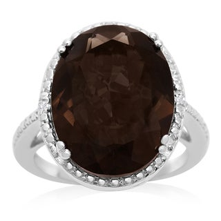 8 Carat Oval Shape Smoky Quartz and Diamond Ring