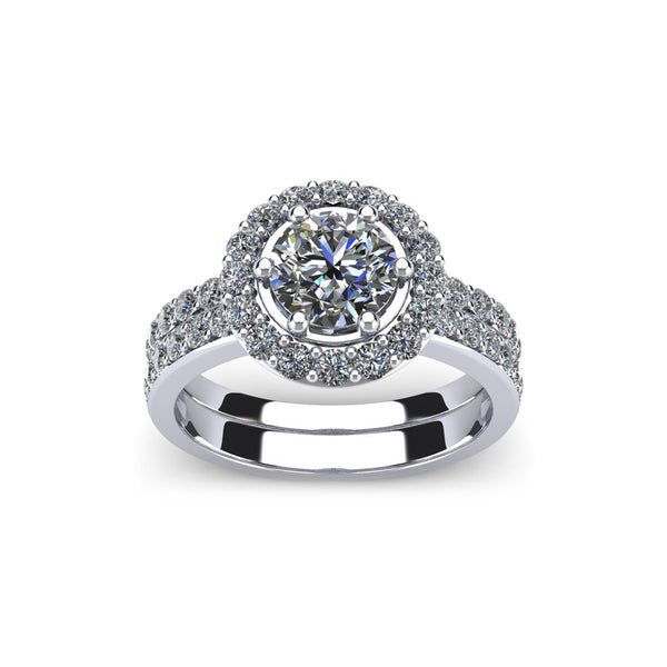 2 Carat Round Cut Diamond Bridal Set With 1 Carat Center Diamond in 14k White Gold (H-I, I1-I2)