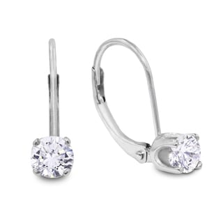 1/2 Carat Diamond Leverback Earrings in 14 Karat White Gold (J-K, I2-I3)