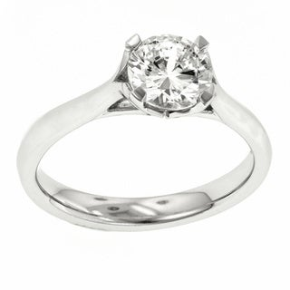 18k White Gold MaeVona Solitaire Semi Mount Cubic Zirconia Engagement Ring