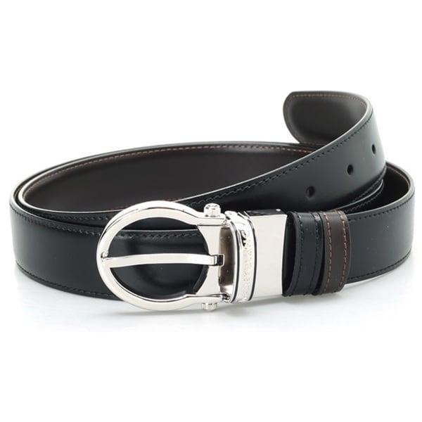 Montblanc Oval Classic Men Leather Black Brown Reversible Belt