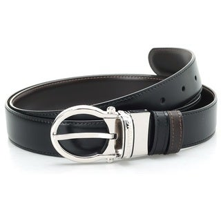 Montblanc Oval Classic Men Leather Black Brown Reversible Belt