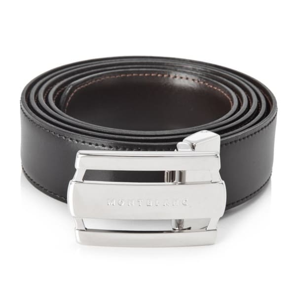 Montblanc Contemporary Line Rectangular Buckle Black/Brown Reversible Leather Belt