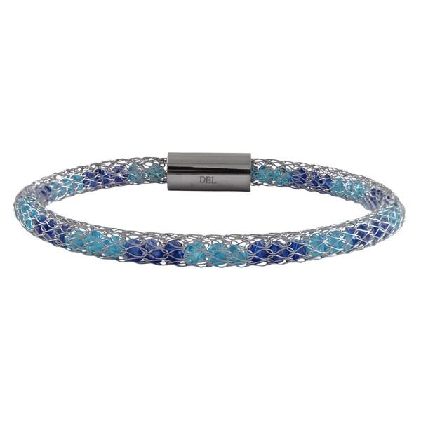 Rhodium Finish Blue Crystals Mesh Bangle Bracelet