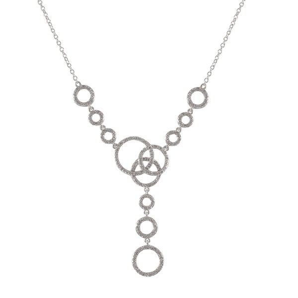 Sterling Silver Cubic Zirconia Linked Circle Y Statement Necklace