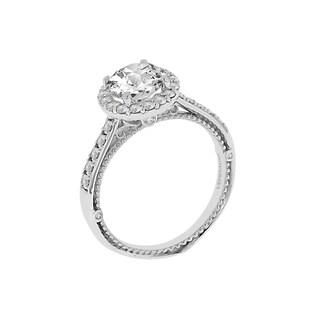 18k White Gold Verragio Halo Semi Mount Cubic Zirconia Center and 1/3ct TDW Diamond Ring (F-G, VS1-VS2)