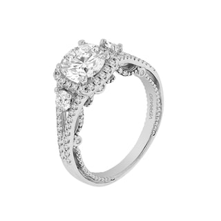 18k White Gold Verragio 3-stone Halo Semi Mount Cubic Zirconia Center and 5/8ct TDW Diamond Ring (F-G, VS1-VS2)