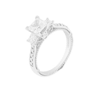 18k White Gold Verragio 3-stone Semi Mount Cubic Zirconia Center and 1/2ct TDW Diamond Ring (F-G, VS1-VS2)