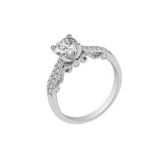 18k White Gold Verragio Side Stone Semi Mount Cubic Zirconia Center and 1/3ct TDW Diamond Ring (F-G, VS1-VS2)