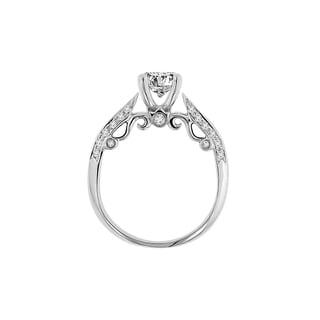 18k White Gold Verragio Side Stone Semi Mount Cubic Zirconia Center and 1/3ct TDW Diamond Ring (F-G, VS1-VS2)