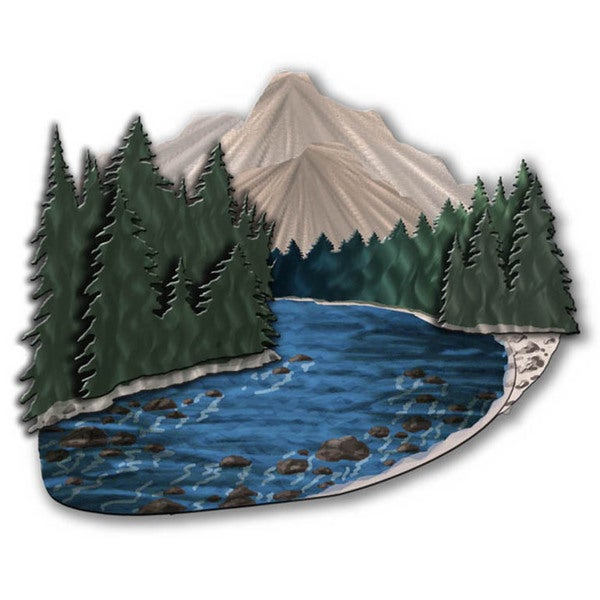'Mountain Stream' Ash Carl Metal Wall Art