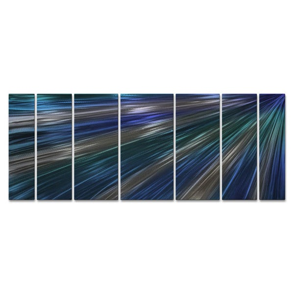 'Blue Rays Of Light' Ash Carl Metal Wall Art 16855664