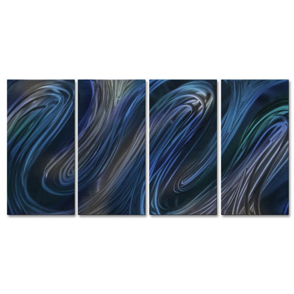 'Blue Glissade III' Ash Carl Metal Wall Art