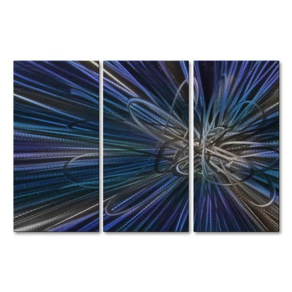 Blue Electron Ray IV Huge Modern Wall Decor by Ash Carl, Metal Wall Sculpture 16855676