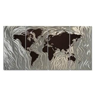 Harper Blvd Iron World Map Wall Sculpture 1136446