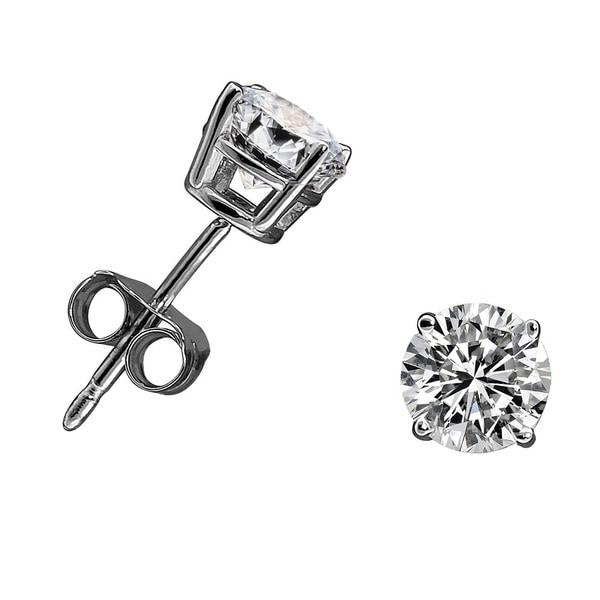 14k White or Yellow Gold 3/4ct TDW Diamond Round Stud Earrings (H-I, I2-I3)