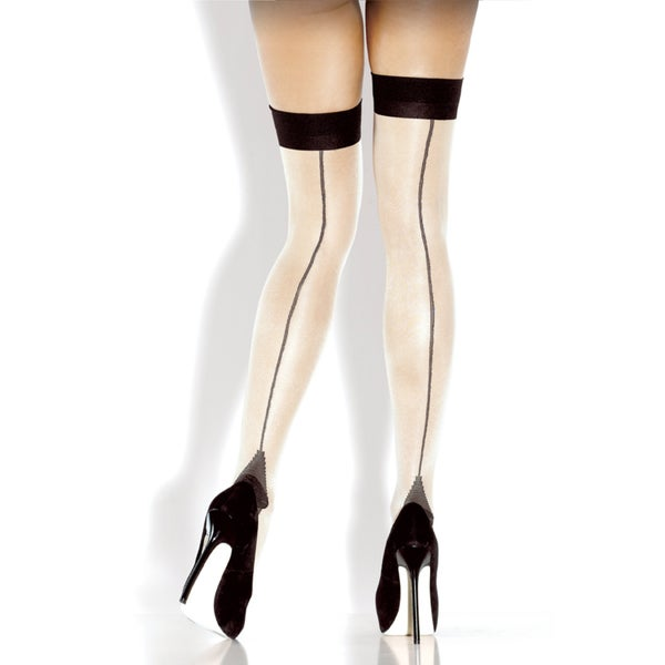 Fantasy Lingerie Nude Cuban Heel Thigh High Stockings