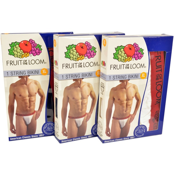 Fruit Of The Loom Men's Cotton Double Layer Pouch String Bikini Underwear (Pack of 3)