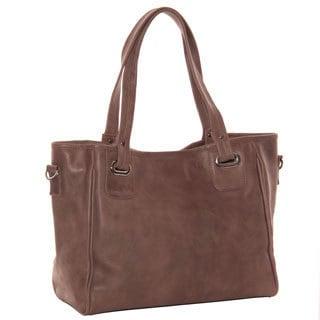 Piel Leather Open Tote/ Cross Body Bag