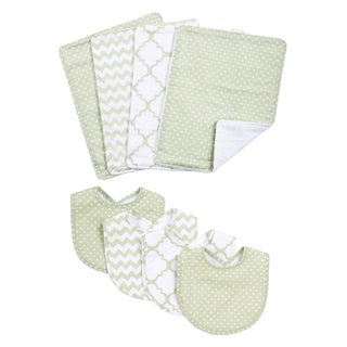 Trend Lab Sea Foam 8-piece Bib and Burp Cloth Set
