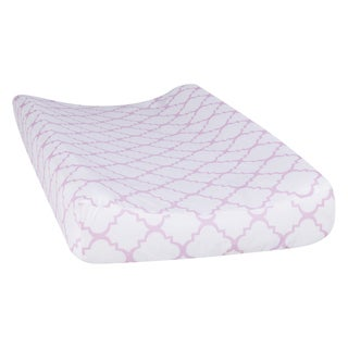 Trend Lab Orchid Bloom Quatrefoil Changing Pad Cover