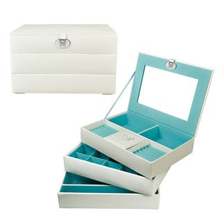 Ikee Design Stackable White Leatherette Jewelry Box