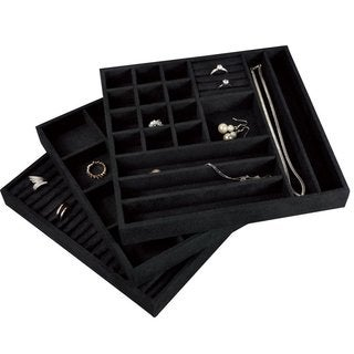 Stackable Velvet Jewelry Trays (Set of 3)
