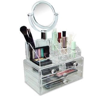 Ikee Design Acrylic Cosmetic Organizer with Two Sided Mirror