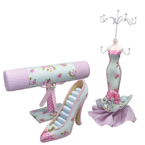 Fabric Covered Jewelry Display Set. Mini Doll, Shoe Display, T-bar. Ring/Necklace/Bangle Display