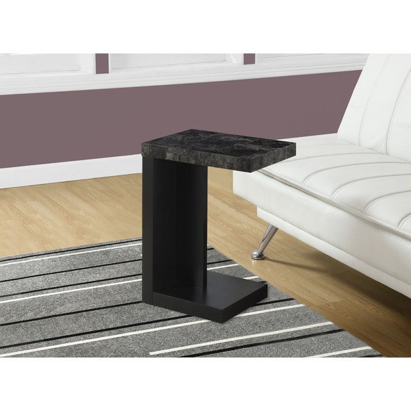 Accent Table-Black/Grey Marble Look Top