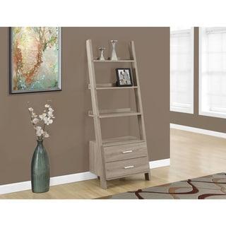 Bookcase-69 inches/Dark Taupe Ladder w/ Storage Drawers
