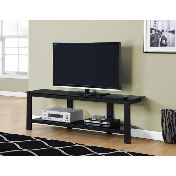TV Stand 60 inch Black Metal With Black Tempered Glass
