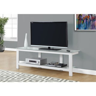 TV Stand-60 inches/White Metal With Frosted Tempered Glass