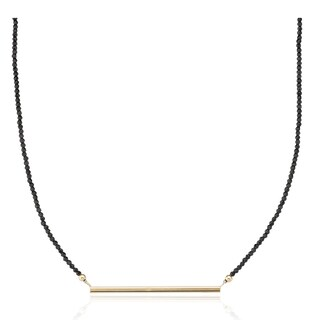 PearlAura Vanguard 14k Yellow Gold Black Spinal and Bar Necklace