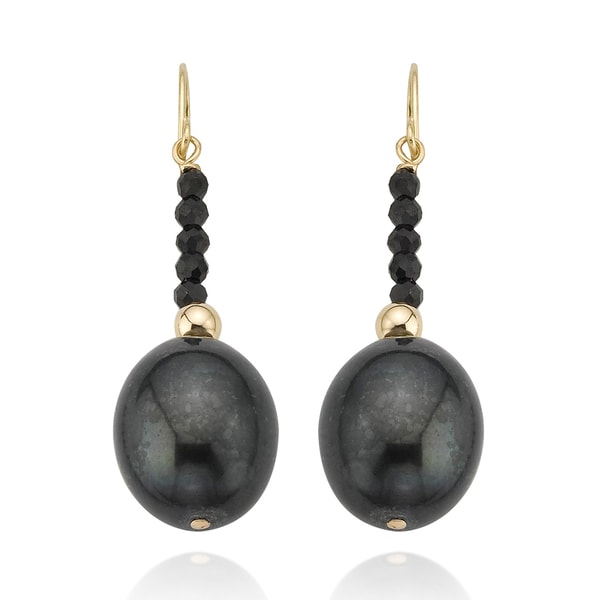 PearlAura Vanguard 14k Yellow Gold Black Spinel and Pearl Earrings