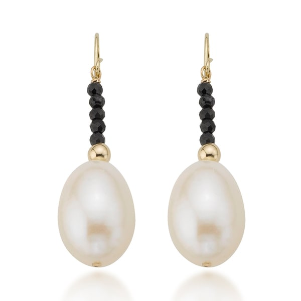 PearlAura 14k Yellow Gold Black Spinel and Freshwater Pearl Earrings