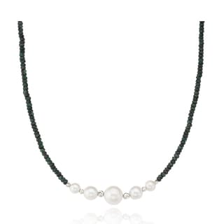 PearlAura Sterling Silver Emerald and Pearl Necklace