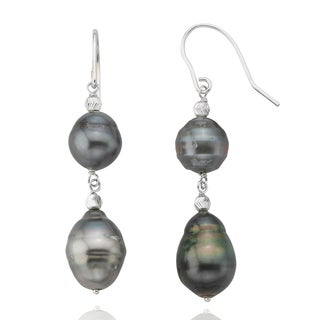 PearlAura Sterling Silver Tahitian Dangling Pearl Earrings