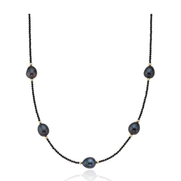 PearlAura 14k Faceted Black Spinel and Pearl