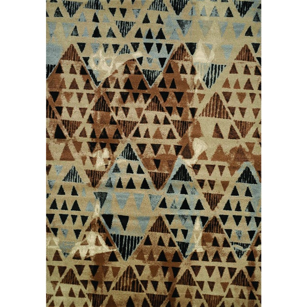 Plait Brown and Tan Tribal Diamonds Area Rug (5'3 x 7'7)