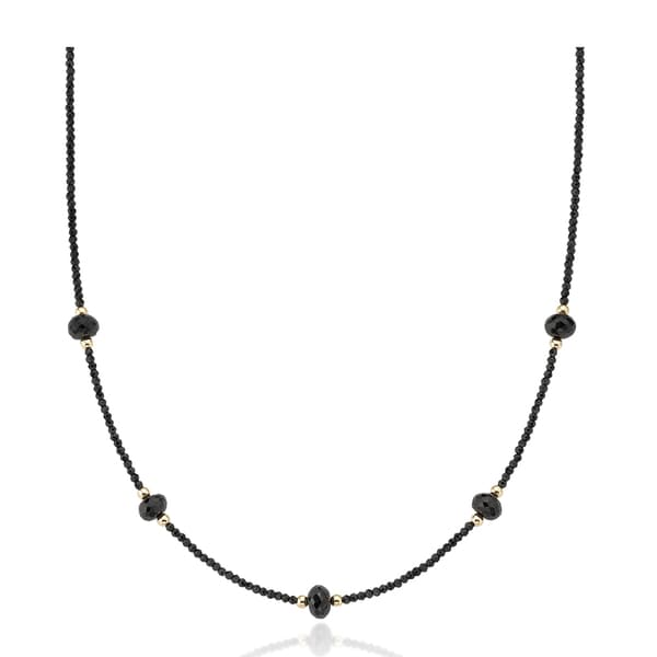 PearlAura Vanguard 14k Yellow Gold Black Spinel Station Necklace