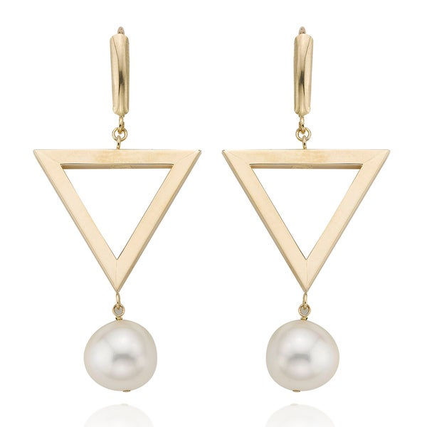 PearlAura Vanguard 14k Yellow Gold Triangle Pearl Earrings