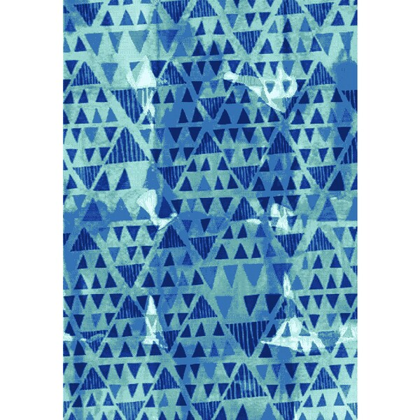 Plait Blue Tribal Diamonds Area Rug (5'3 x 7'7)
