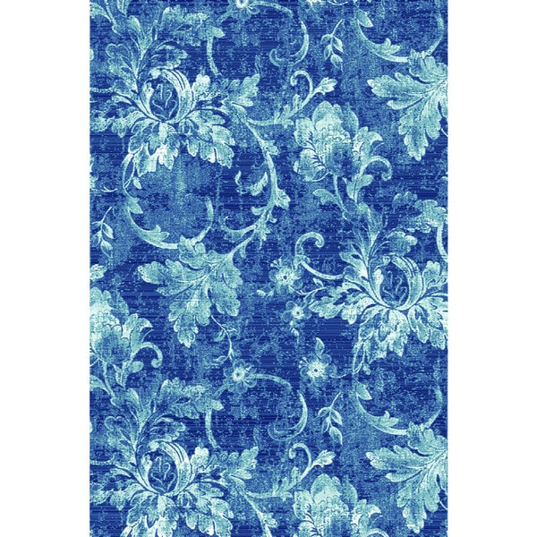 Plait Navy and White Frozen Vines Area Rug (5'3 x 7'7)