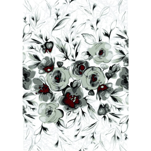 Plait White and Red Rose Area Rug (5'3 x 7'7)